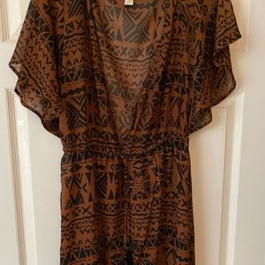 Rust / Black patterned Long Beach coverup